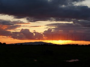Sunset behind Criffel and Anthorn masts